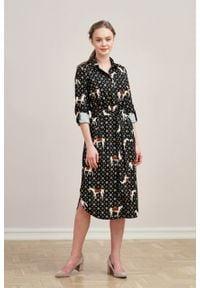Marie Zélie - Sukienka Eliza Ponnie. Materiał: bawełna, wiskoza. Długość rękawa: długi rękaw. Typ sukienki: szmizjerki. Styl: klasyczny