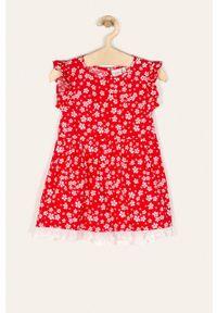 Czerwona sukienka Name it bez rękawów, w kwiaty