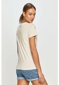 Kremowa bluzka Pepe Jeans casualowa, z nadrukiem, na co dzień
