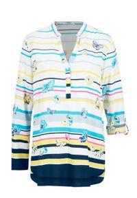 Biała bluzka bonprix długa, z długim rękawem, w paski