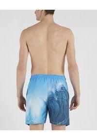 PAUL & SHARK - Niebieskie szorty z printem Fali. Kolor: niebieski. Materiał: materiał. Wzór: nadruk. Sezon: lato. Styl: wakacyjny