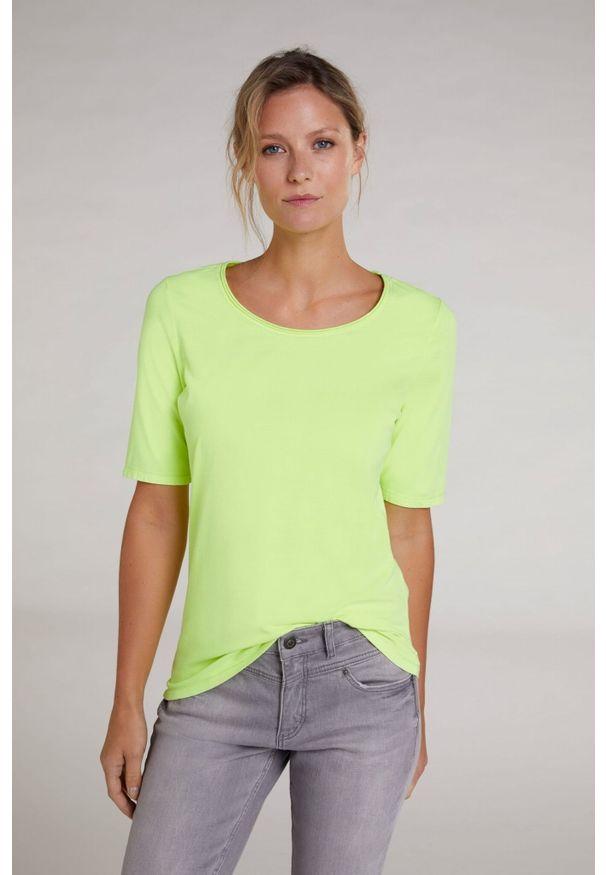 Żółty t-shirt krótki, z krótkim rękawem, z haftami