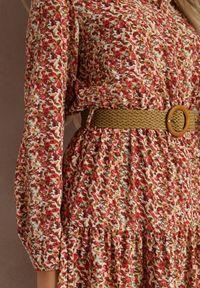 Renee - Czerwona Sukienka Nelo. Kolor: czerwony. Długość rękawa: długi rękaw. Wzór: kwiaty, aplikacja. Długość: midi