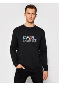 Karl Lagerfeld - KARL LAGERFELD Bluza Crewneck 705062 511940 Czarny Regular Fit. Typ kołnierza: dekolt w karo. Kolor: czarny