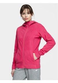 4f - Polar damski. Typ kołnierza: kaptur. Kolor: różowy. Materiał: polar. Długość rękawa: raglanowy rękaw