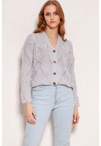 Lanti - Ażurowy Rozpinany Sweter - Szary. Kolor: szary. Materiał: bawełna, akryl. Wzór: ażurowy