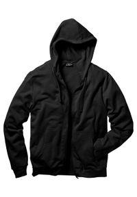Bluza rozpinana z kapturem bonprix Bluza rozpinana czarna. Typ kołnierza: kaptur. Kolor: czarny