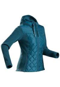 quechua - Sweter NH100 Hybride damski. Kolor: wielokolorowy, turkusowy, niebieski. Materiał: materiał, dzianina, tkanina, poliester, polar