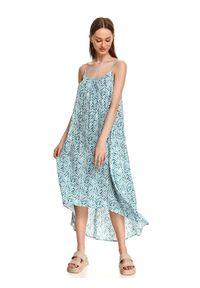 TOP SECRET - Asymetryczna sukienka na lato w drobny wzór. Kolor: biały. Materiał: dzianina. Długość rękawa: na ramiączkach. Sezon: lato. Typ sukienki: asymetryczne. Styl: wakacyjny