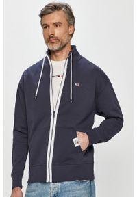 Niebieska bluza rozpinana Tommy Jeans na co dzień, bez kaptura