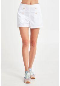 Szorty Emporio Armani Swimwear klasyczne, krótkie, z podwyższonym stanem, w kolorowe wzory