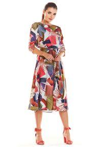 e-margeritka - Sukienka midi rozkloszowana we wzory - l. Materiał: tkanina, poliester, elastan, materiał. Sezon: wiosna. Długość: midi