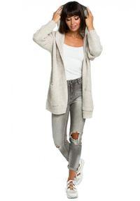 Sweter długi, z długim rękawem, z kapturem