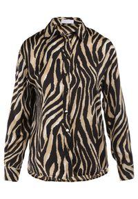 Born2be - Beżowa Koszula Nysoya. Okazja: na spotkanie biznesowe. Kolor: beżowy. Materiał: jeans, materiał. Długość rękawa: długi rękaw. Długość: długie. Wzór: aplikacja, nadruk. Styl: klasyczny, biznesowy