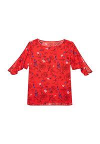 Czerwona koszula MOODO krótka, w kwiaty