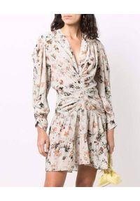 IRO - Beżowa sukienka w kwiaty Diplo. Typ kołnierza: dekolt w kształcie V. Kolor: beżowy. Materiał: tkanina, jedwab, wiskoza. Długość rękawa: długi rękaw. Wzór: kwiaty. Długość: mini