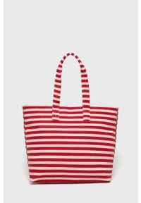 Czerwona torba plażowa Pieces na ramię, z nadrukiem, duża