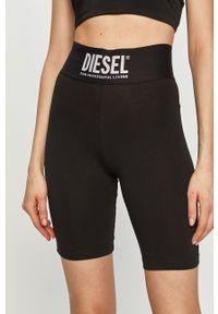 Czarne szorty Diesel z nadrukiem, z podwyższonym stanem, sportowe
