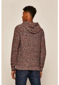 Wielokolorowy sweter medicine casualowy, z kapturem, melanż