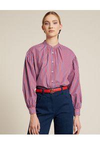Luisa Spagnoli - LUISA SPAGNOLI - Koszula w czerwone paski Briosi. Okazja: na co dzień. Kolor: czerwony. Materiał: bawełna. Długość: długie. Wzór: paski. Styl: elegancki, casual