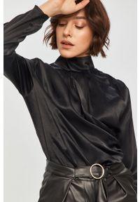 Czarna bluzka Answear Lab z golfem, długa, na co dzień
