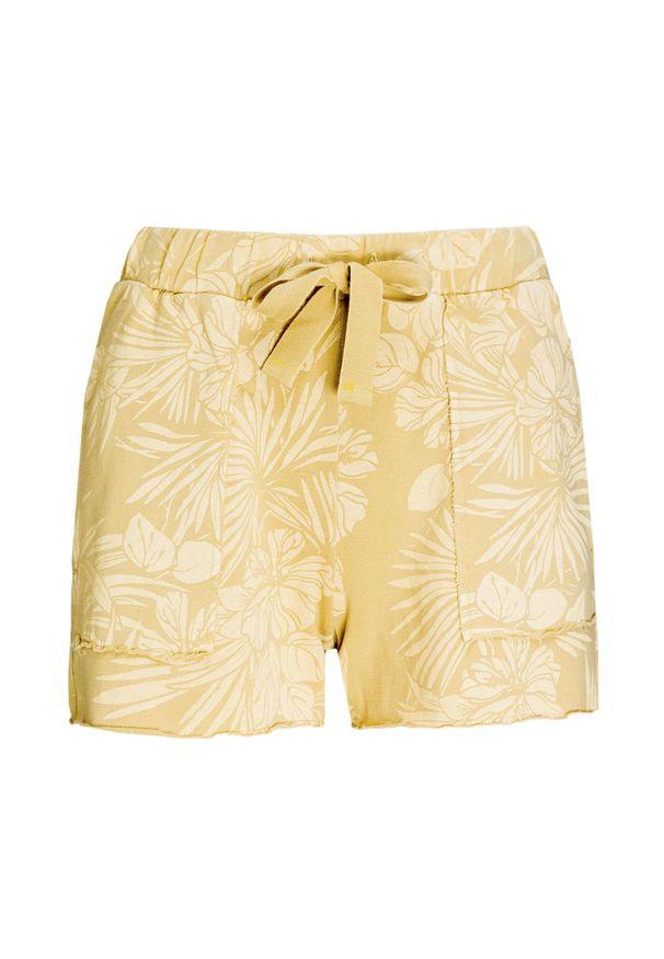Żółte szorty Deha z nadrukiem, wakacyjne