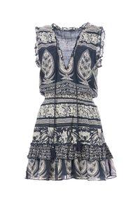 M.A.B.E - Sukienka mini Athena. Kolor: niebieski. Materiał: tkanina, bawełna. Wzór: aplikacja. Sezon: lato. Długość: mini