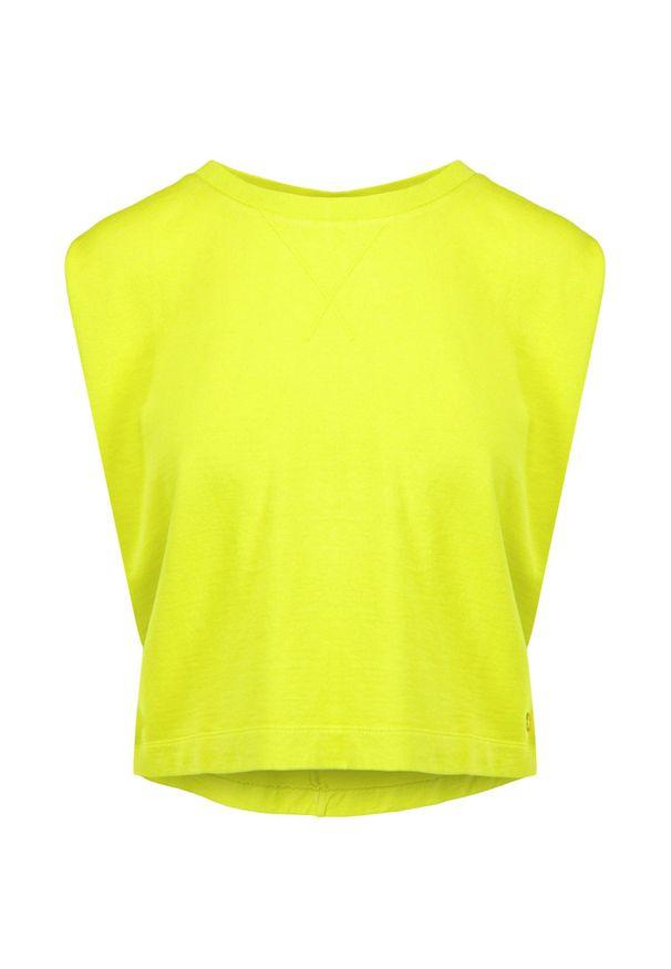 Deha - Bluza bez rękawów DEHA HYPE. Kolor: żółty. Materiał: bawełna, włókno. Długość rękawa: bez rękawów. Długość: krótkie