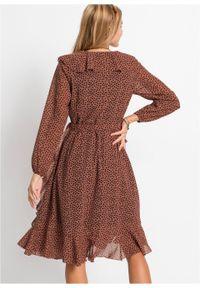 Brązowa sukienka bonprix maxi, w kropki