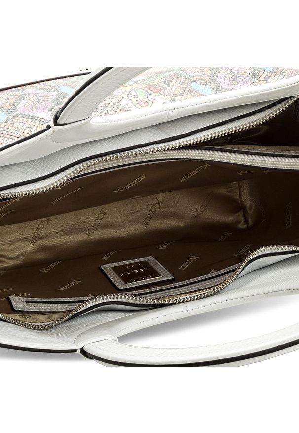 Biała torebka klasyczna Kazar na ramię, w kolorowe wzory