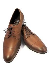 Faber - Brązowo-koniakowe przecierane buty męskie T81. Kolor: brązowy. Materiał: skóra. Styl: wizytowy, klasyczny, elegancki