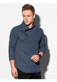 Niebieska bluza Ombre Clothing klasyczna, bez kaptura, z długim rękawem, długa