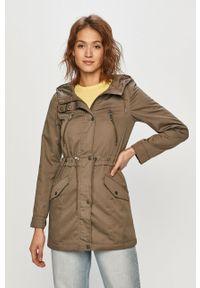 Zielona kurtka Vero Moda casualowa, z kapturem, na co dzień, gładkie