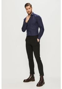 Niebieska koszula Hugo długa, z włoskim kołnierzykiem, elegancka