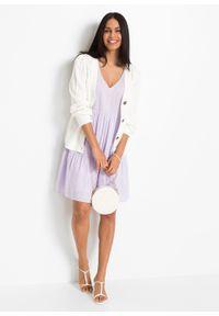 Sukienka tunikowa bonprix pastelowy bez. Kolor: fioletowy