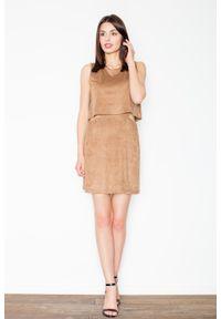 Figl - Brązowa Niepowtarzalna Zamszowa Mini Sukienka. Kolor: brązowy. Materiał: zamsz. Długość: mini