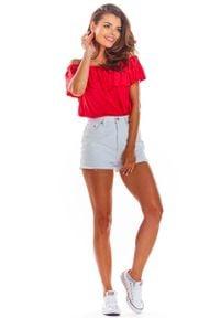 Awama - Fuksja Letnia Bluzka z Hiszpańskim Dekoltem. Kolor: różowy. Materiał: elastan, wiskoza. Sezon: lato