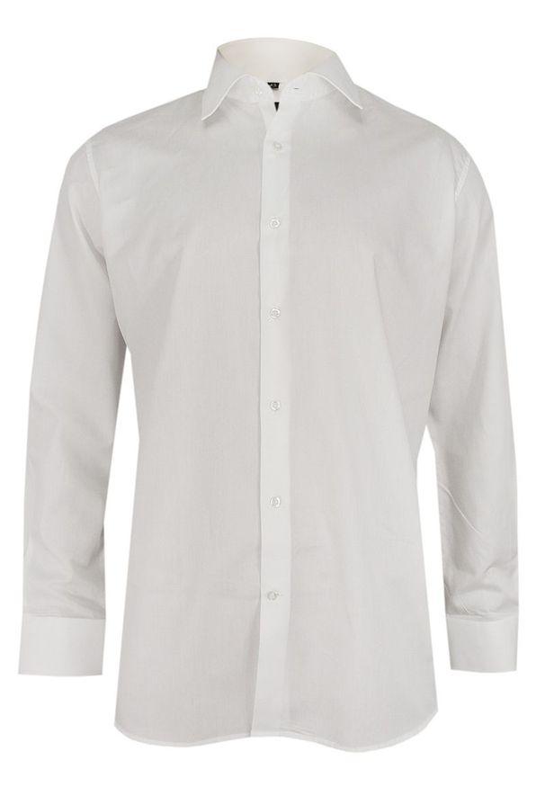Biała elegancka koszula Ranir z długim rękawem, długa, z aplikacjami, do pracy