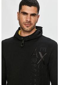 Czarna bluza nierozpinana Armani Exchange na co dzień, z kapturem, casualowa, z aplikacjami