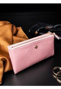 Różowy portfel MILANO DESIGN z motywem zwierzęcym