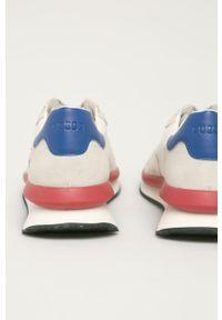 Białe sneakersy Guess na sznurówki, z cholewką, z okrągłym noskiem, do biegania