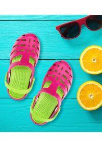 REALPAKS - Klapki dziecięce Realpaks SLD-08 Różowo-Zielone. Okazja: na plażę. Kolor: zielony, różowy, wielokolorowy. Materiał: tworzywo sztuczne. Styl: młodzieżowy