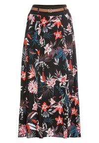 Spódnica maxi z paskiem bonprix czarny z nadrukiem. Kolor: czarny. Długość: długie. Wzór: nadruk