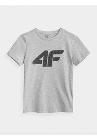 4f - T-shirt chłopięcy (122-164). Kolor: szary. Materiał: bawełna, materiał