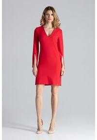 Figl - Czerwona Sukienka Koktajlowa Mini z Rozciętym Rękawem. Kolor: czerwony. Materiał: wiskoza, poliester. Styl: wizytowy. Długość: mini