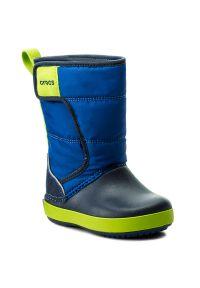 Niebieskie buty zimowe Crocs na rzepy, na zimę