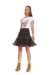 Czarna spódnica TOP SECRET casualowa, na jesień, w kolorowe wzory, na co dzień