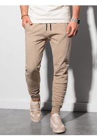 Ombre Clothing - Spodnie męskie dresowe joggery P948 - beżowe - XXL. Kolor: beżowy. Materiał: dresówka