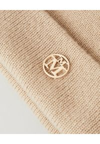 MAISON MICHEL PARIS - Beżowa czapka z kaszmiru. Kolor: beżowy. Materiał: kaszmir. Wzór: aplikacja. Styl: elegancki