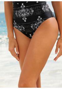 Kostium kąpielowy shape Level 1, przyjazny dla środowiska bonprix czarny w graficzny wzór. Kolor: czarny. Materiał: materiał
